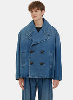 J.w. Anderson Men's Oversized Denim Pea Coat In Blue