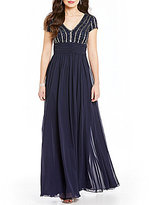 JS Collections V-Neck Chiffon Deco Embellished Open-Back Gown