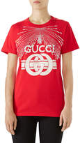 Gucci Cotton Jersey T-Shirt with G Buckle Print & Crystal Detail