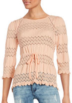 Free People Long-Sleeve Drawstring Open-Knit Top