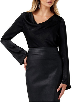 Forever New Scarlet Satin Flare Sleeve Cowl Neck Top