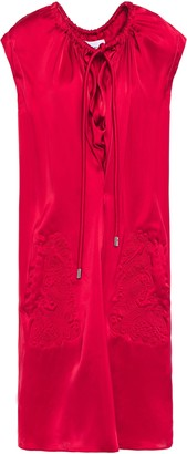 Carven Gathered Quilted Satin Dress