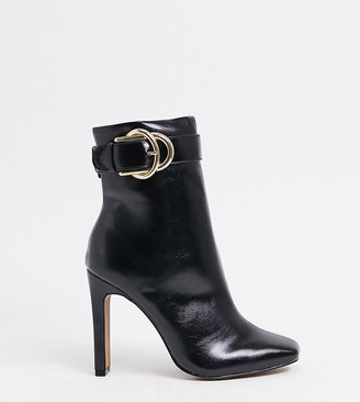 ASOS DESIGN Wide Fit Envy high ankle buckle boots in black