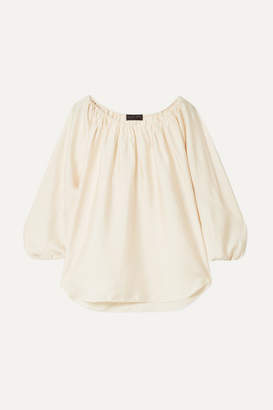 Hatch The Deanna Gathered Crinkled-satin Top - Ivory