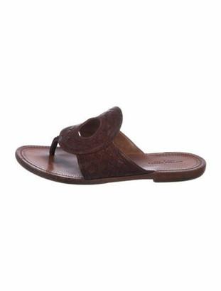 Bottega Veneta Woven Leather Slide Sandals Brown