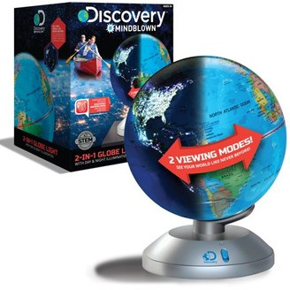 Discovery #MINDBLOWN Discovery Kids 2-in-1 World Globe LED Lamp w/Day & Night Modes, STEM Geography Map Educational Toy for Children, Solar System, Light Up Cities and Countries, Rotating w/Display Stand