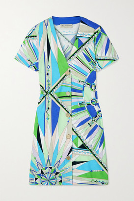 Emilio Pucci Printed Cotton-blend Terry Mini Dress - Blue