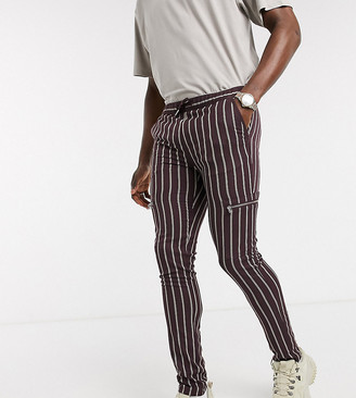 ASOS DESIGN Tall skinny trousers in stripe with zip detail