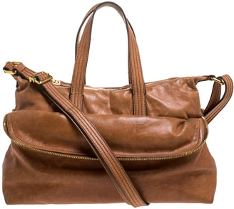 Fendi Brown Leather Zip It Satchel