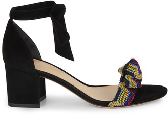 Alexandre Birman Clarita Fiocchi Suede Mix Media Ankle-Strap Sandals