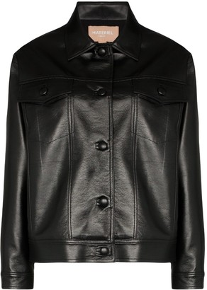 MATÉRIEL Faux Leather Button-Up Jacket