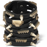 Rick Owens Leather, bronze and bone bracelet