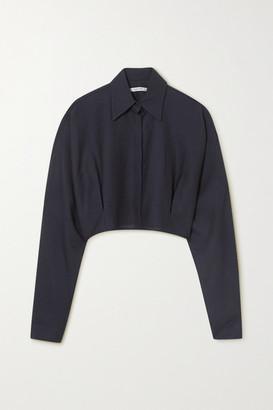 LE 17 SEPTEMBRE Cropped Wool-blend Gauze Shirt - Navy