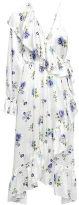 Les Rêveries Ruffled Floral-print Silk-satin Midi Wrap Dress
