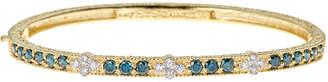 Farah Tanya Modern Etruscan Blue & White Diamond Bangle Bracelet