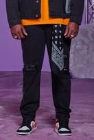 boohoo Mens Black Big And Tall Skinny Fit Bandana Detail Jeans, Black