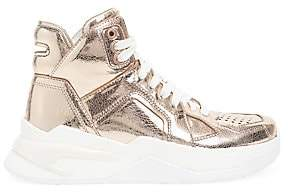 Balmain Women's Metallic Leather High-Top Sneakers