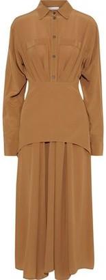 Victoria Beckham Layered Pleated Silk Crepe De Chine Midi Dress