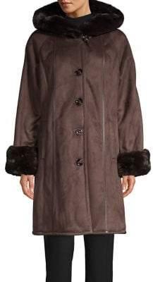 Jones New York Faux Fur-Lined Hooded Faux Suede Coat
