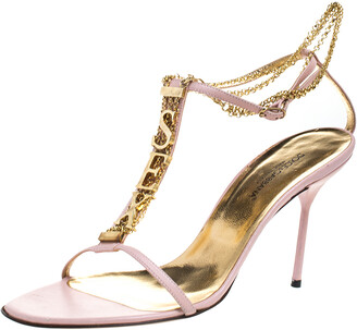 Dolce & Gabbana Pink Leather Sex Chain Detail Ankle Strap Sandals Size 40