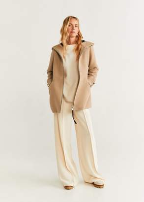 MANGO Hooded wool coat beige - XXS - Women