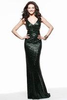 Faviana 7581 Sleeveless V Neck Sequined Sheath Long Gown