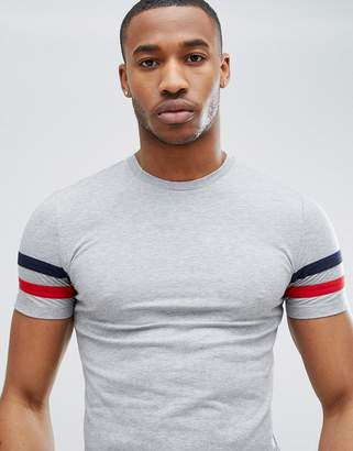 Asos Design DESIGN muscle fit t-shirt with sleeve stripe in grey