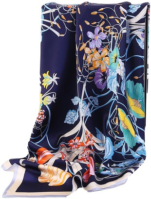 Grace Scarves 100% Silk Scarf Extra-Large - Blue -