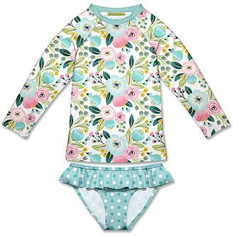 Millie Loves Lily Girls' Bikini Bottoms Famous - Teal Famous Floral & Dot Ruffle Rashguard Set - Toddler & Girls