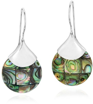 Aeravida Handmade Teardrops of Mosaic Abalone Shell Sterling Silver Dangle Earrings