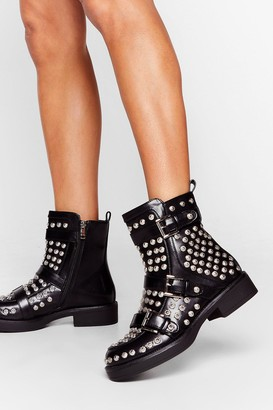 Nasty Gal Womens Stud As Hell Heeled Ankle Boots - Black