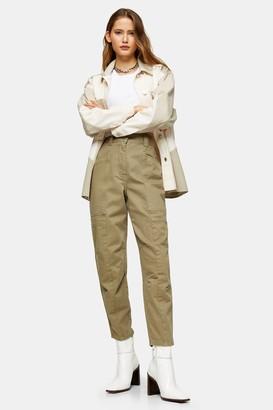 Topshop Khaki Seamed Casual Peg Pants