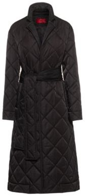 HUGO BOSS Long Line Padded Coat With Reflective Logo Patch - Black