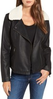 Women's Sebby Faux Leather Moto Jacket With Detachable Faux Shearling Collar