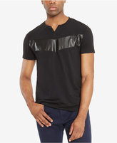 Kenneth Cole Reaction Men's Split-Neck Faux Leather Pieced T-Shirt