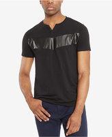 Kenneth Cole Reaction Men's Split-Neck Faux Leather Pieced T-Shirt