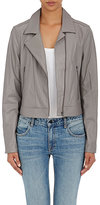 L'Agence WOMEN'S WRINKLED LAMBSKIN MOTO JACKET-GREY, LIGHT GREY SIZE 4