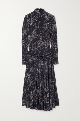 Victoria Victoria Beckham Pleated Printed Stretch-crepe Turtleneck Maxi Dress - Midnight blue