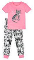 Petit Lem Little Girls Cat-Print Top and Pants Pajama Set