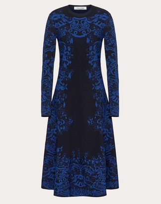 Valentino Intarsia Stretch-viscose Knitted Dress Women Navy/blue Viscose 83%, Polyester 17% L