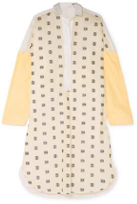 Loewe Paneled Embroidered Cotton-poplin Shirt - Yellow