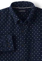 Classic Men's Tailored Fit Buttondown Collar Flagship Printed Flannel Shirt Navy Dot