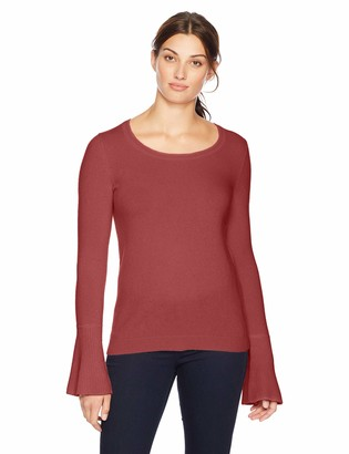 Lark & Ro Women's Sweaters Crewneck Cashmere Sweater with Flute Sleeves
