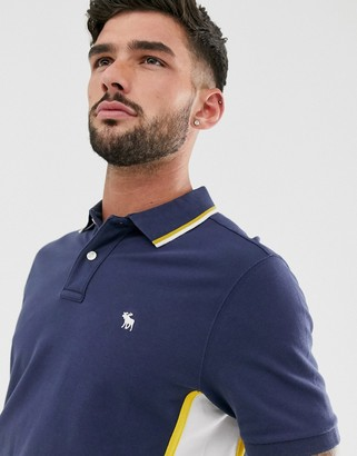 Abercrombie & Fitch modern side logo panel tipped pique polo in navy