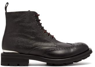 Alexander McQueen Tread Sole Leather Boots - Mens - Black
