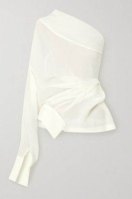 A.W.A.K.E. Mode One-shoulder Draped Chiffon Blouse - Ivory