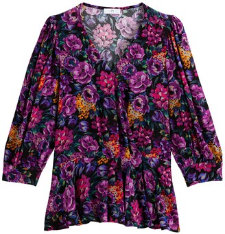 La Redoute Collections Floral Print Wrapover Blouse