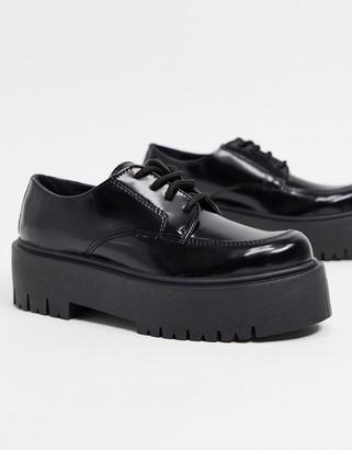 Topshop platform lace up loafers in black