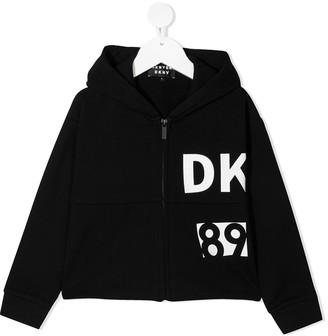 DKNY Logo Zipped Hoodie