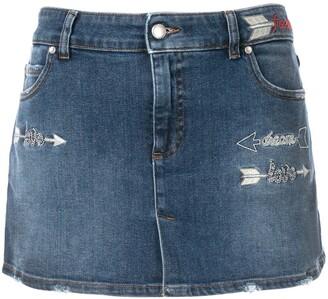RED Valentino love embroidery denim skirt shorts